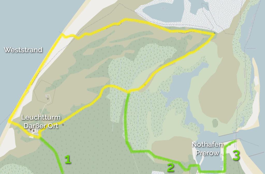 Rundwanderweg zur Beobachtung der Hirsche Nothafen Prerow - Weststrand - Darsser Ort